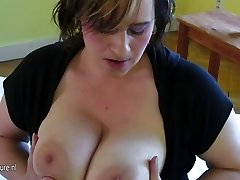 Busty old mother dreaming of young jizz-shotgun