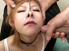 Blonde Chinese boxer gets cum up her nose!
