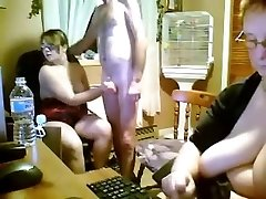 Spanish young and old three way in kitchen - web cam