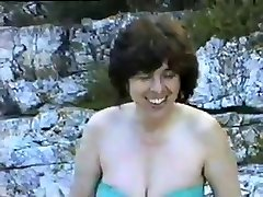 a hairy mature wife first time nude on a naturist beach