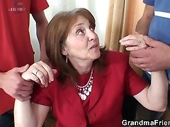 Threesome office porking with granny