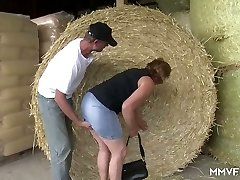 Wild farmer lures obese mature lady in glasses and pulverizes her in shed