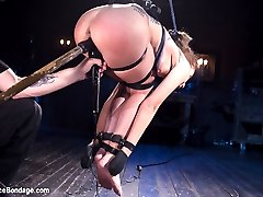 We begin with Roxanne balancing on her knees with her arms stretched out. Her clothes are ripped away and then her body is abused. Pegs are added to her nipples then flogged off, and the process is repeated to ensure ultimate suffering. Next she is in a doggie style suspension. Again this little whore is terrorized before being fucked and made to cum. As soon as I put my hands on this little whore I realized that her pussy drips when you show her any attention at all. In the final position we have her in a spread eagle on the floor and we find out that she is terrified of being blindfolded. i see a weakness and i jump right in to mind fuck this little slut as hard as I can. She begs and pleads to stop, but her pussy gets wetter with every passing second of her begging.