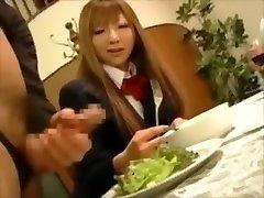 CFNM- Japanese prosperous girls torture male slaves at dinner