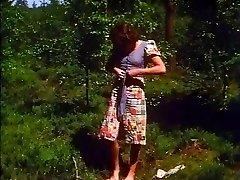 Retro - Girl strokes outdoor