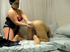 BBW mistress destroys his ass with fist and string on