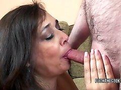 Busty housewife Alesia Enjoyment is guzzling a stiff cock