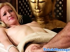 Shy babe throatfucked by her super-naughty masseur