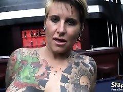 Tattooed Cougar Gets Pierced Pussy Banged