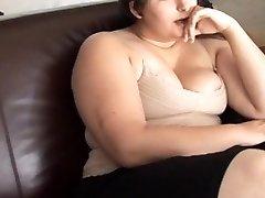Wondrous  busty brunette BBW has a soaking wet pussy