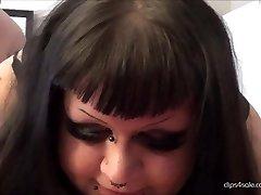 BBW Thick goth slut gets fingered
