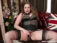 All-natural big tits brunette Sophia Delane disrobes to nylons heels and wanks