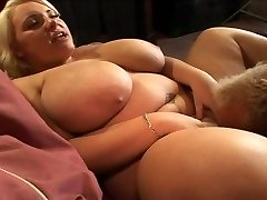 blond with huge natural saggy boobies