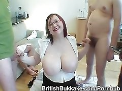 Plump giant breasted Scottish readhead in glasses is jizz over