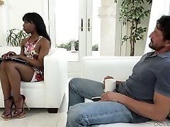 Sexy black nymph wanks and blows giant white dick on the couch