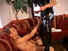 German Slut In Black Latex Plumbed