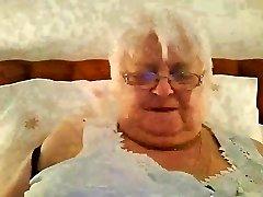 Super-sized 80y.o. Brit granny in ebony lingerie