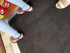 Candid ebony feet purple toes 2