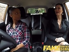 Fake Driving College busty ebony fails her test with girl-girl