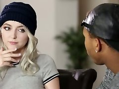 Ultra-kinky blond haired busty girl lures her dark-hued neighbor for interracial sex