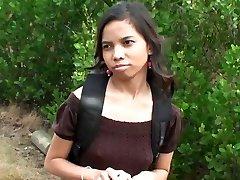 Lovely Indian girl Amanda Putri picked up in the street got cash for sex