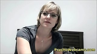 Super-sexy Short Hair MILF with Glasses and Hairy Pussy