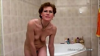 Grandma with Glasses Shaves Her Cooch