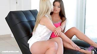 Hot lesbians Anita B and Nina Trevino have hook-up on Girly-girl
