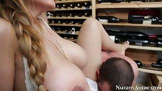 Brutal fellow Jordan Ash romps mega busty hottie Yurizan Beltran in wine cellar