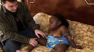 Horny black midget chick is getting porked rigid