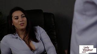 European office babe punishes sub guy with CFNM