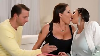 Busty slutty dark haired housewife lets boy and chick suck her meaty boobies