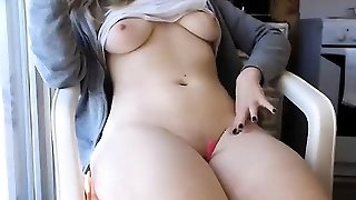 Sadie magnificent platinum-blonde babe toying pussy with a vibrator