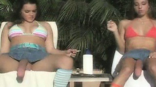 Two hot dark-haired babes getting horny part2