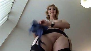 Mature English blonde babe in stockings upskirt taunt