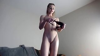 Skinny slim blond small funbags firm nipples cameltoe pussy