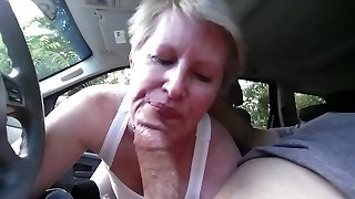 sucking stiffy in car