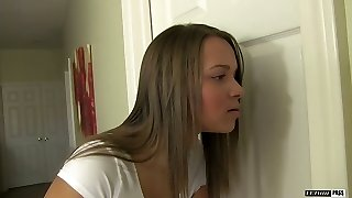 Alluring blonde teen with smallish funbags Liza Rowe gets her twat nailed