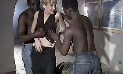 Milky whore wife Rebeca gives eager blowjob to a duo of big black boys