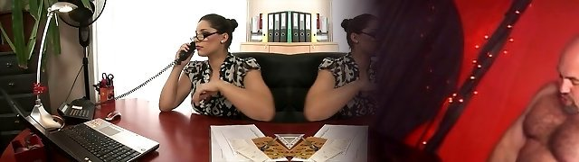 Hot blonde and dark haired office sluts pulverize on a desk