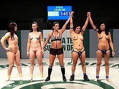 Team Blue is victorious. Isamar and Beretta scored more points, had more fingers in the pussy and licked more tits and ass than team yellow did and now they get their prize. They get to fuck the losers in front of all those rowdy audience members. Isamar and Beretta are the winners and Cheyenne Jewel and Sahara Rain are the losers. But we need to know who the loser of losers are. They can't be equal losers, one must be the loser of all losers. So the Ref makes Cheyenne and Sahara battle it out for the title of #1 loser in a sex fight. They are told to trib ( scissor fuck) each other. The first one to cum is the biggest loser!! They go at it! loser gets the sweaty shoe from the hard working winner shoved in her face. Sahara is put in front of Cheyenne Jewel's bountiful booty and not allowed to lick or kiss it. She is only allowed to sniff it. Tonight we're all about sniffing sweaty things!