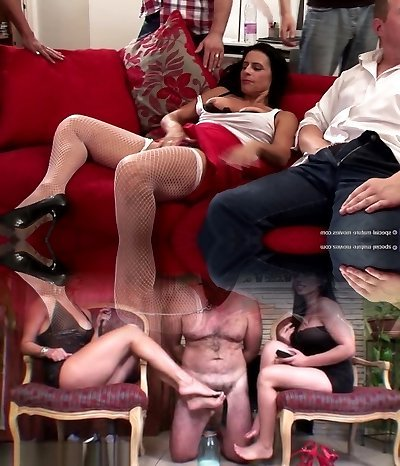 Steaming old and young group fuck-fest with squirting mother