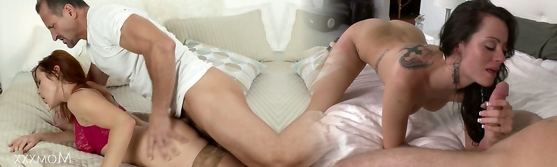 Mommy Naughty red-haired milf in stockings has a fuck