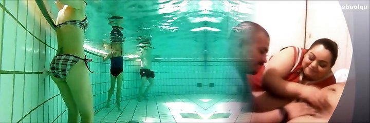 french 45 yo superb bod playing with jets at pool