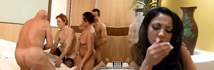 Two immense moms make out with their lovers in gang sex orgy