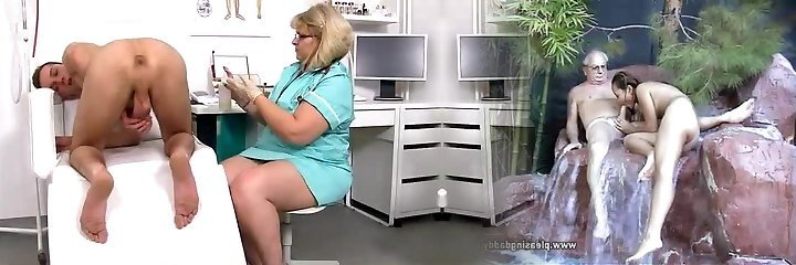 Lean boy gets a handjob from ginormous cougar doctor Anna