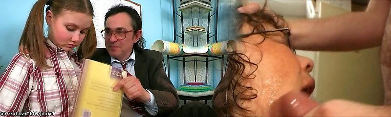 Kinky aged tutor gets lusty apology from his nice student with pigtails