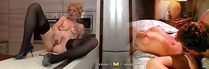 Gross mature slut loves to masturbate in her kitchen