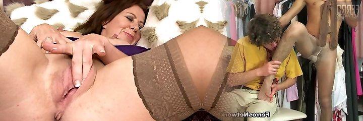 Mouth-watering Mature in Stockings Masturbates