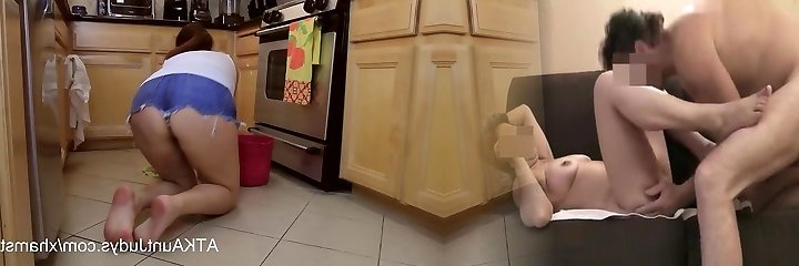Mature 46-year old Milf Alesia Sensation cleans up the floor